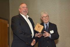2014 Sunrise Breakfast - Joe Barry, right, accepts his award from Dennis Brogan, left.